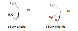 t-butyl alcohol and t-butyl chloride structures
