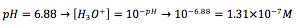 Equation 1: Determining the concentration of hydronium ions