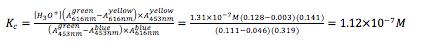 Equation 2: Determining equilibrium constant