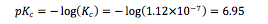 Equation 3: Determining pKc value