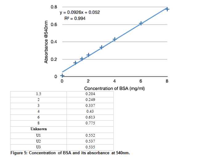 Concentration of BSA and its absorbance